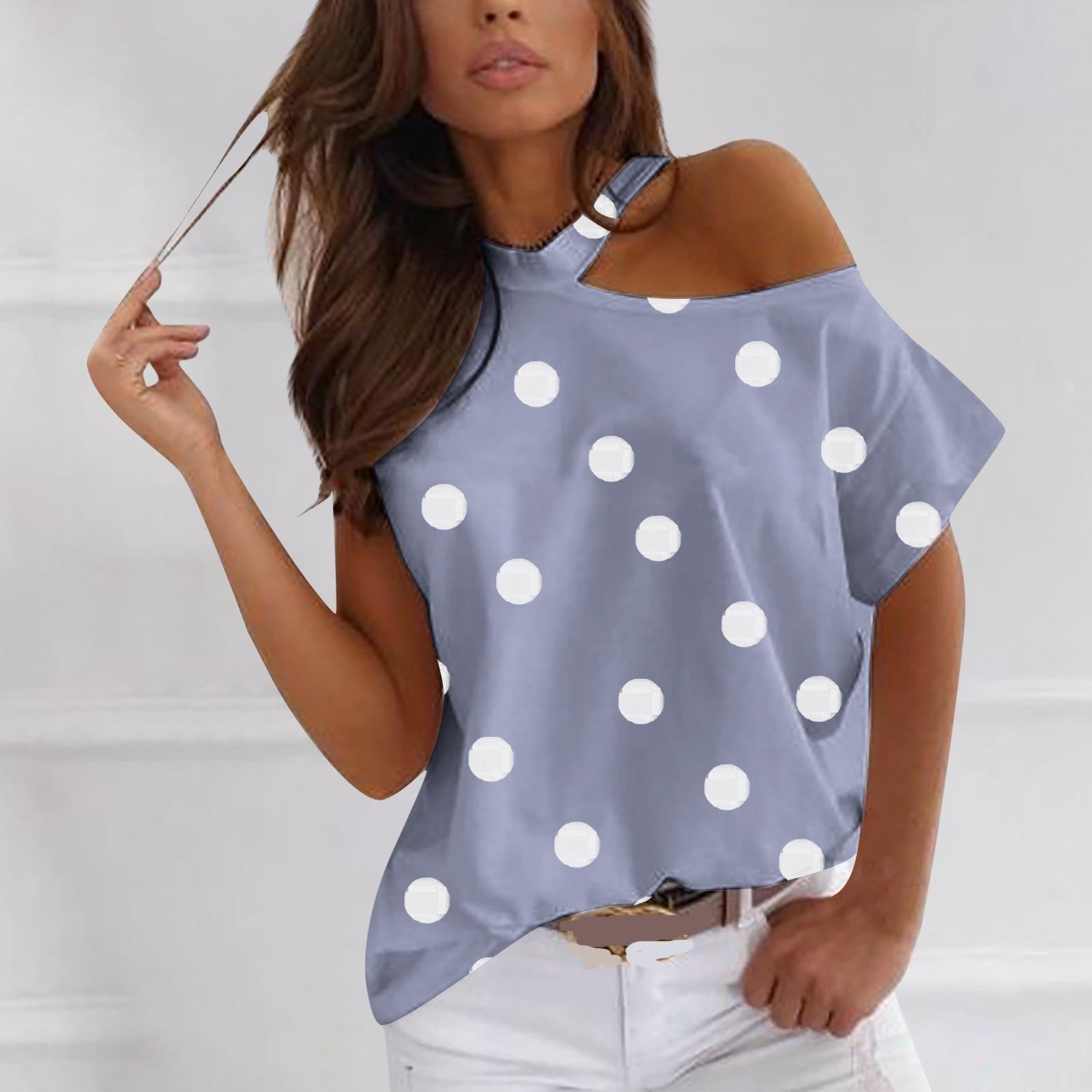 De moda de dibujo de lunares camiseta 2021 mujeres de verano de...