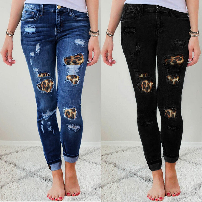 2020 Fall Women's Plus Size Skinny Jeans Solid Color Leopard Patchwork Irregular Ribbed Hole Pencil Pants Stretch Slim Pants