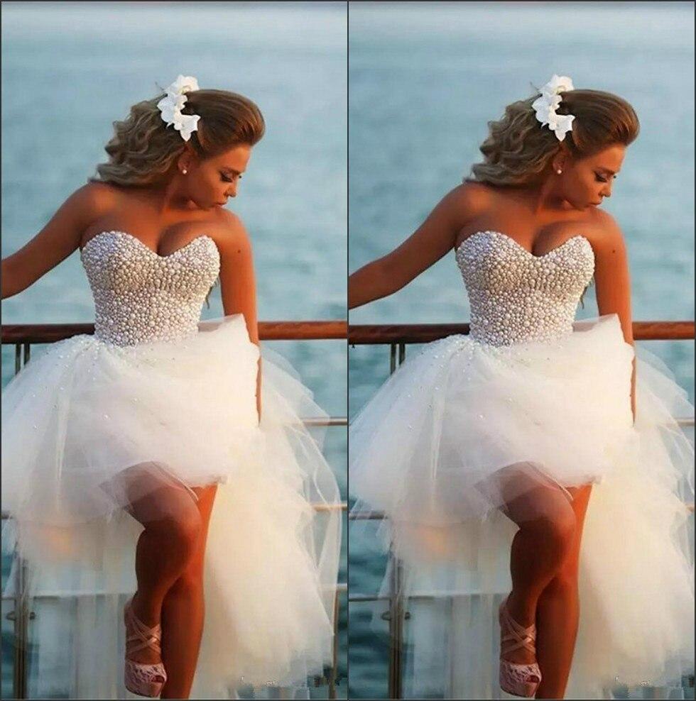 فستان زفاف من التول على شكل قلب عربي ، ملابس بحر ، توب مطرز باللؤلؤ ، قصير ، للصيف