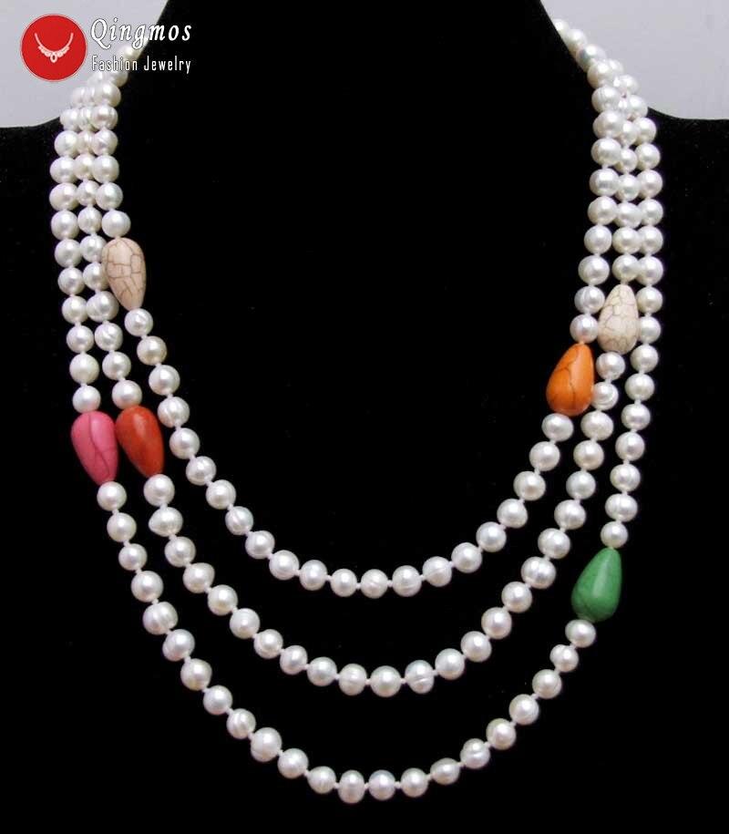 """Qingmos collar de perlas blancas para mujeres con 6-7mm blanco redondo pera y Multicolor gota turquesa collar largo 60 """"suéter de joyería"""