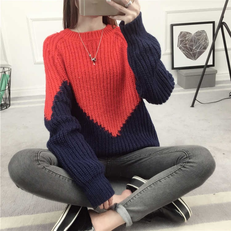 Korean College Style Autumn Winter Geometric Pattern Argyle Pullovers Loose Oversized O-Neck Knitted Sweaters Woman Jumper enlarge