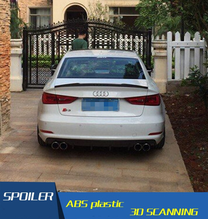 For Audi A3 Spoiler S3 The v model Audi A3 ABS Material Car Rear Wing Primer Color Rear Spoiler For Audi A3 Spoiler 2016-2018