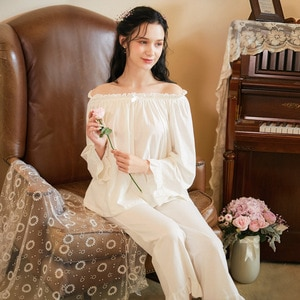 Women Long-Sleeved Cotton Pajamas Female Autumn Long Sleeve Trousers Sleepwear White Loose Pijamas Two-Piece Set Sexy Nightwear