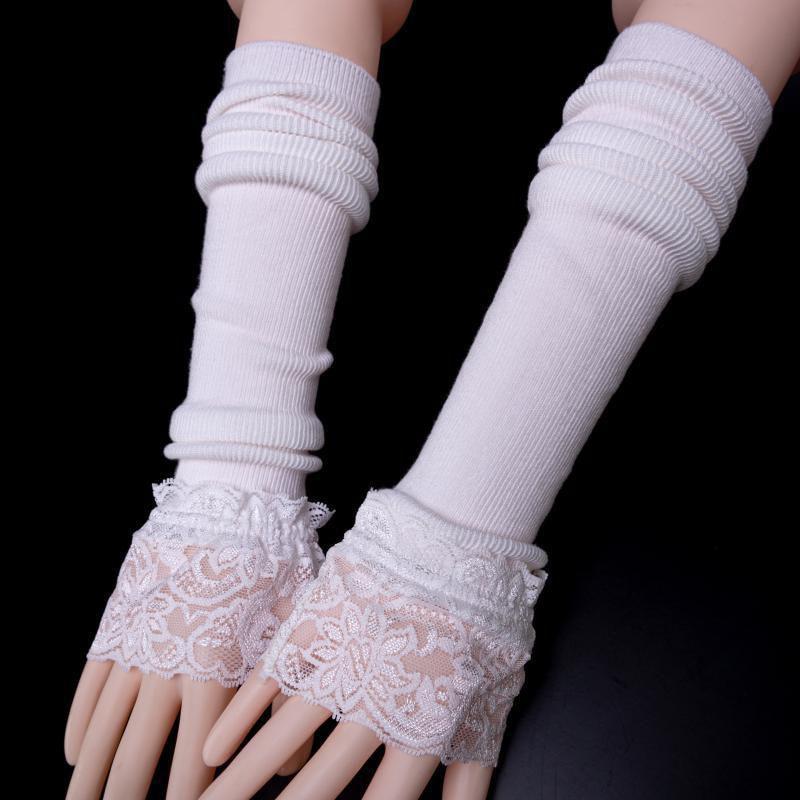 Перчатки средней длины хлопковые манжеты для рук кружевные накидки модные однотонные черные белые накладные рукава женские вязаные рукава...