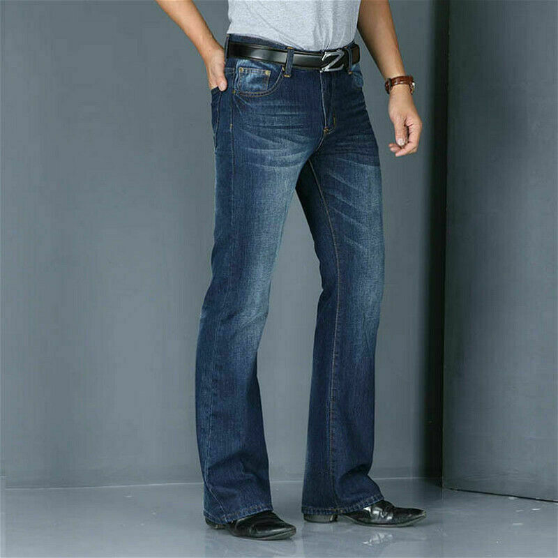 بنطلون جينز رجالي عتيق 60s 70s ، بنطلون جينز واسع ، هيبي ، قصة عادية SPW ، أزرق فاتح ، أزرق داكن ، 923-586