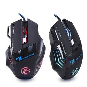 Мышь компьютерная проводная с 7 кнопками, USB-мышь игровая эргономичная со светодиодной подсветкой, 5500 т/д, бесшумная мышь X7 для ПК и ноутбуков