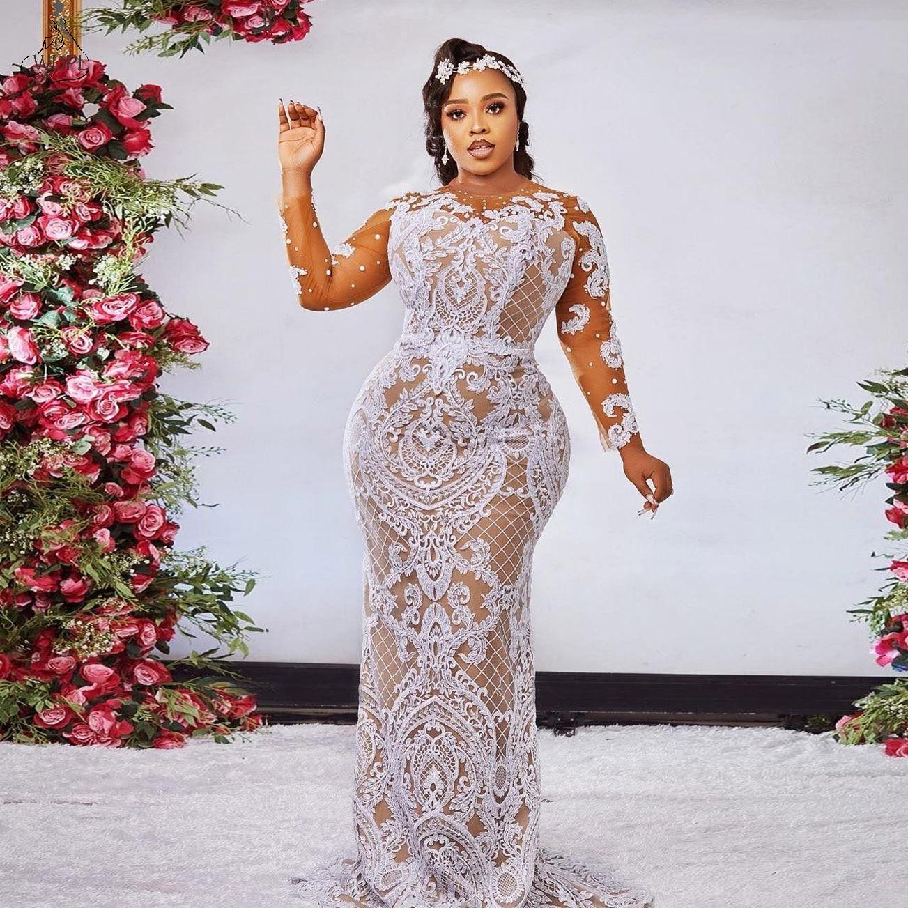 Promo Black Girl Mermaid Wedding Dress 2021 African Wedding Gowns Lace Applique Bridal Formal Party Dresses Plus Size vestido de noiva