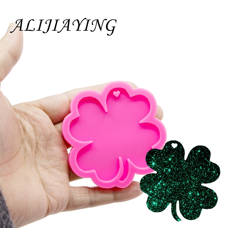 Moldes de hoja de silicona llavero molde para Resina epoxi artesanía DIY silicona brillante llaveros joyería colgante DY0255