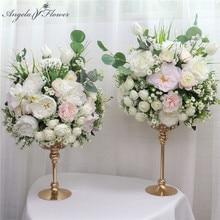 40CM Flower Bouquet Artificial Flower Ball Table Flower Centerpiece Party Event Wedding Backdrop Decor Ball and Vase Candlestick