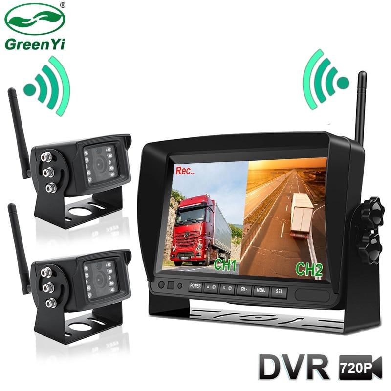 7 pulgadas HD AHD Digital 2CH 4CH DVR grabadora Video Monitor con cámara de visión delantera y trasera inalámbrica para camión/remolque/autobús/RV/pastillas
