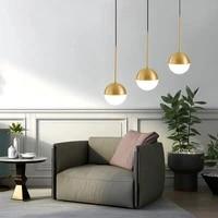 nordic modern glass ball pendant lights vintage hoop gold modern led hanging lamp for living room home loft industrial decor lum