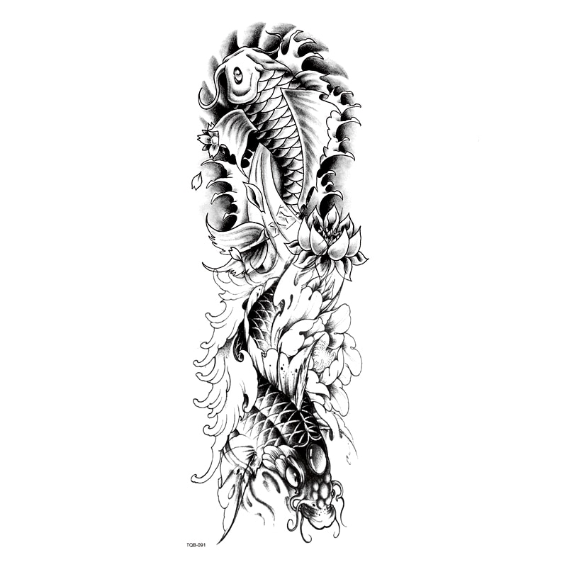 Carp changed to dragon Waterproof Temporary Tattoos Men Tattoo Full Arm Sleeves Kit Tattoo Temporary Tattoos Sleeves Fake Tatoo