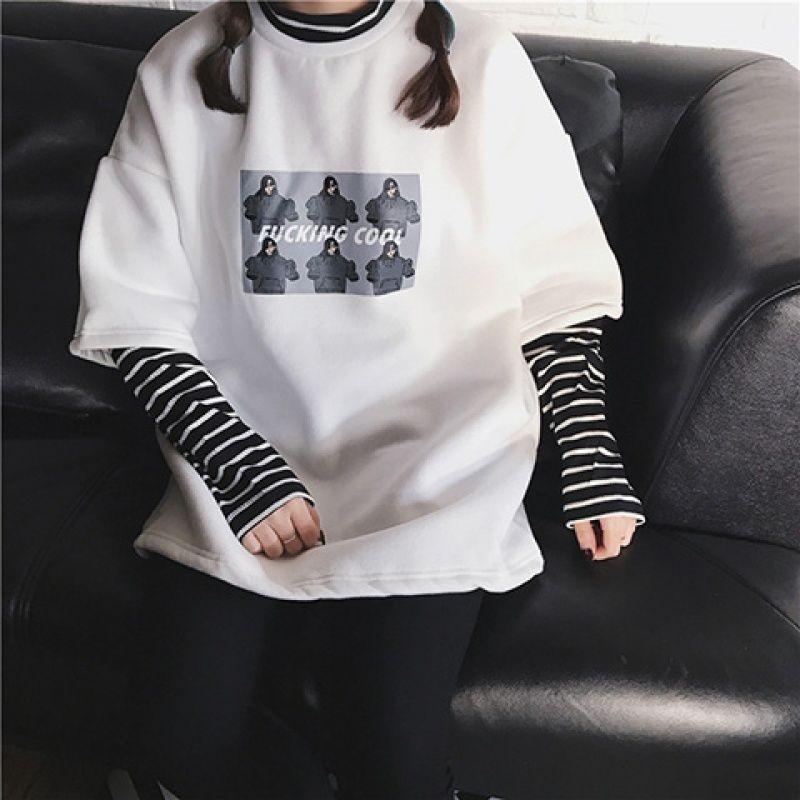 NiceMix, camiseta de manga larga para mujer, primavera Otoño, imitación de dos piezas a rayas, Harajuku Bf, viento, impresión salvaje, suelta, personalidad estudiante