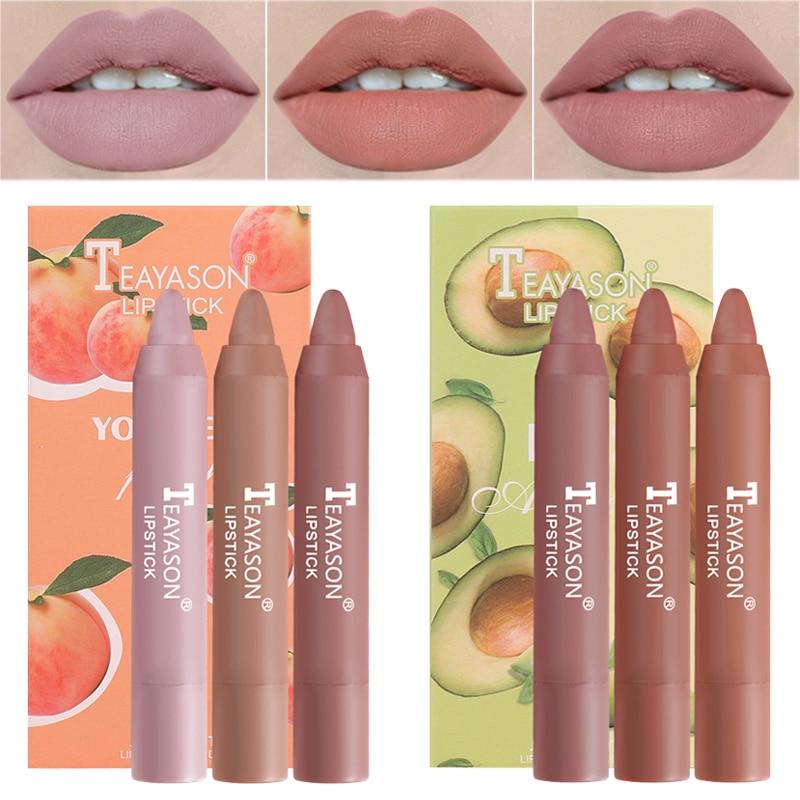 3 unids/set de lápices labiales mate de larga duración Sexy rojo labial tinte pluma impermeable maquillaje cosmético pigmento Mineral Batom