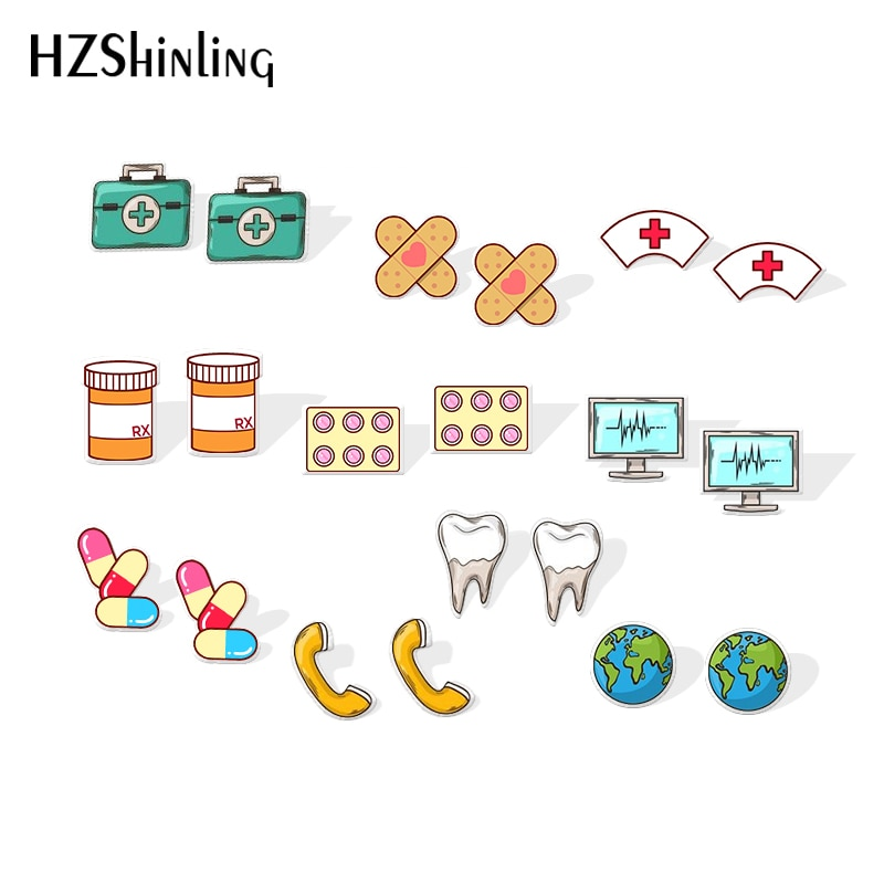 Brincos de acrílico de medicina e médico, brincos com símbolo de encolher, brincos de menina, faixa bonita, brinco de bandagem, novo, 2019