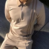 turn down collar men top patchwork striped print thin zipper long sleeve autumn shirt streetwear men top shirt