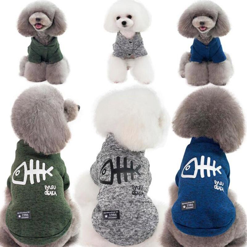 Cute Fish hueso Pet Jersey ropa para perro caliente jersey para cachorros abrigo de punto para perros pequeños grandes gatos Teddy Bulldog disfraces S-XXL