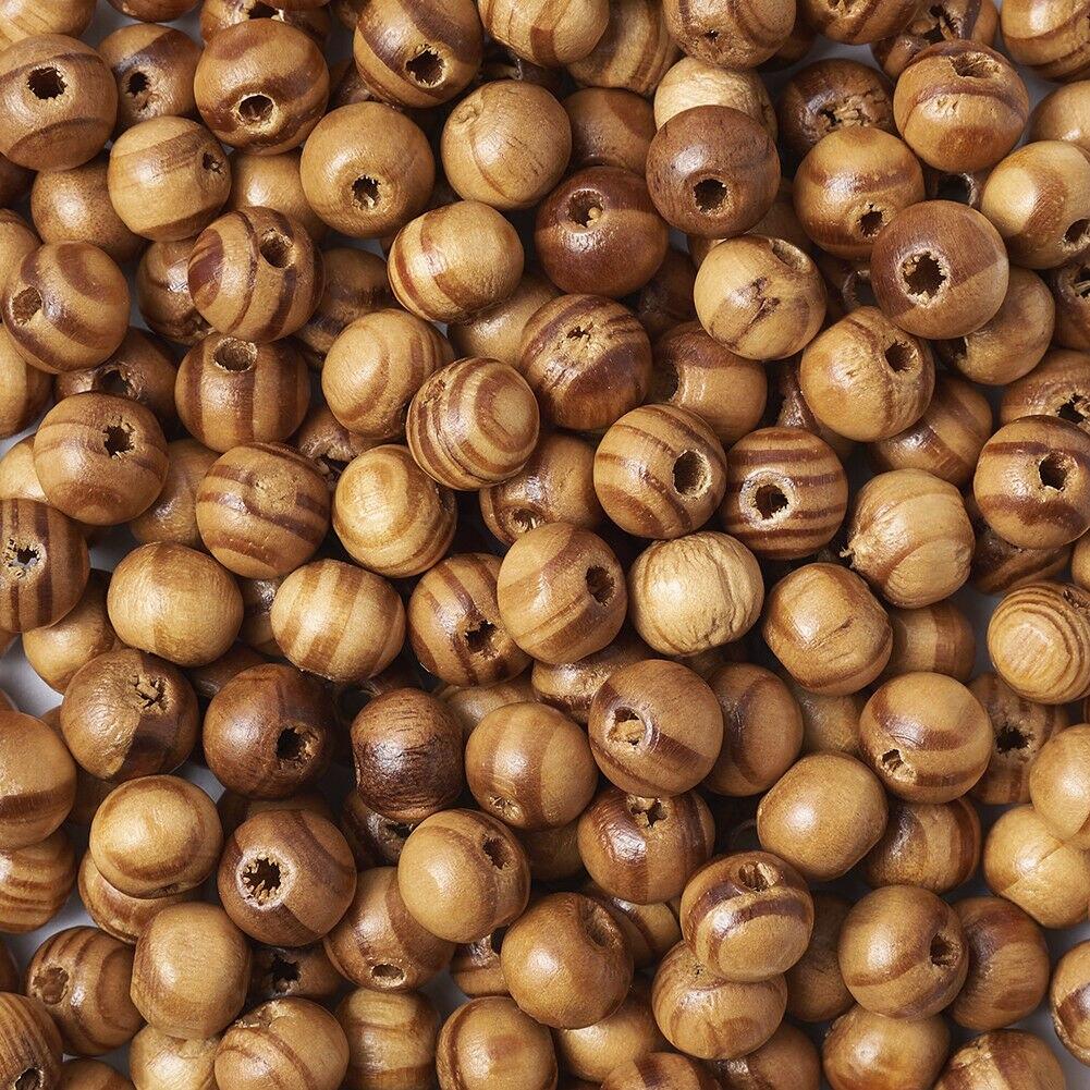 200 pièces bois Tribal naturel perles 8mm brun en bois pour la fabrication de bijoux ajustement Bracelet à breloques bricolage résultats artisanat