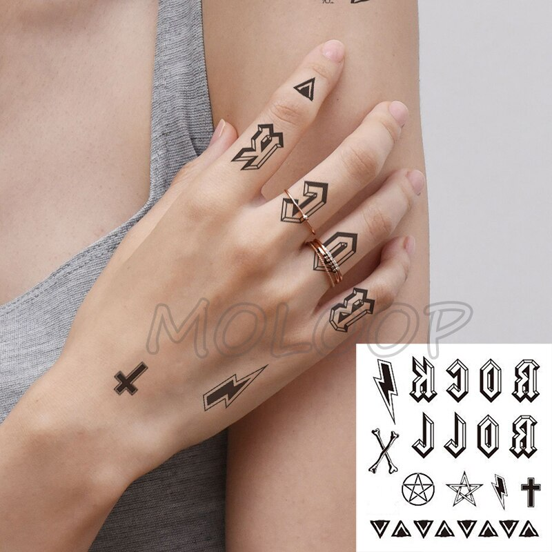Tatuaje a prueba de agua pegatina letra Cruz estrella triángulo iluminación Tatuaje falso mano atrás transferencia de agua flash arte corporal tatuaje temporal