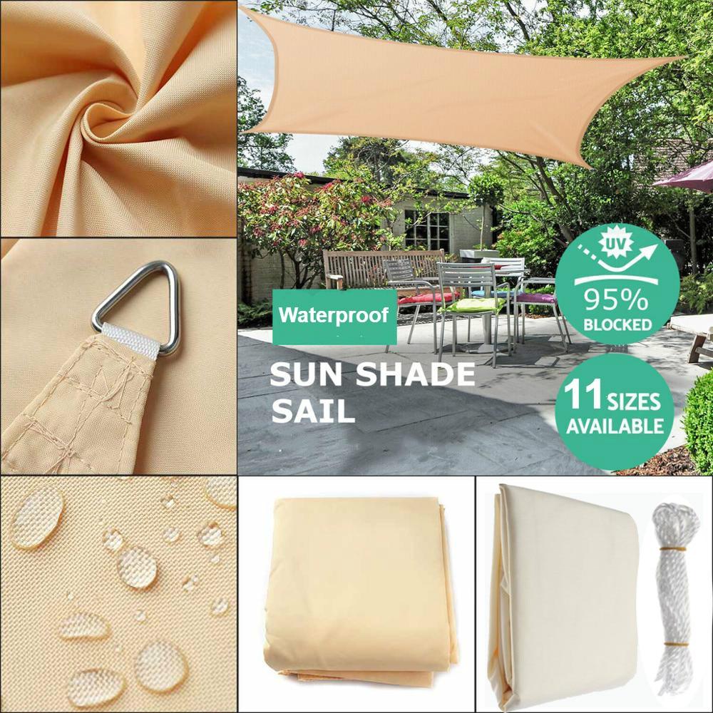 Sun-Shelter Waterproof SunShade Sail Outdoor Rectangle Shade Sail Garden Terrace Canopy Swimming Yard Sail Beach Car Awning