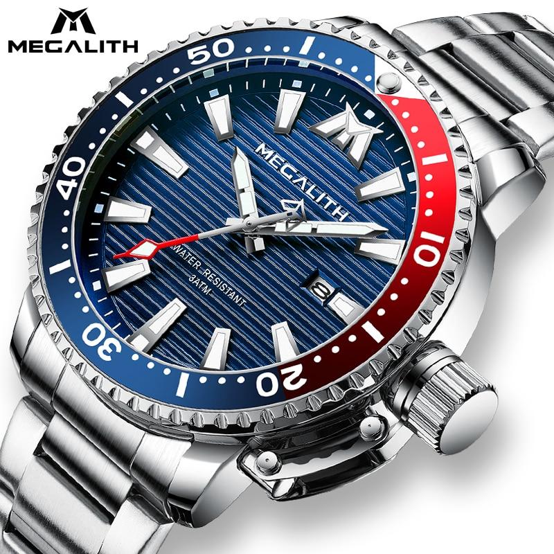Reloj Hombre 2020 MEGALITH deportivo luminoso resistente al agua relojes de cuarzo para Hombre de acero completo militar buceo Reloj con calendario hombres con caja