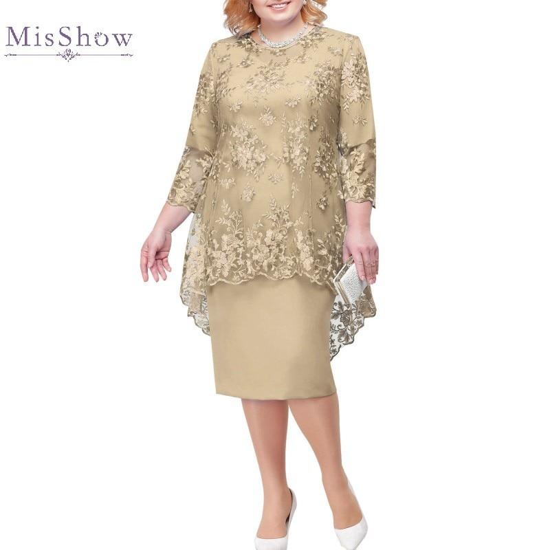 Plus Size Mother Of The Bride Dresses Suit Two Piece Midi Wedding Party Gown robe mere de la mariee