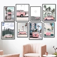 sky cloud mountain palm tree beach bus van wall art canvas painting nordic poster and prints wall pictures for living room decor