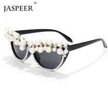 Jaspeer 2020 Parel Cat Eye Zonnebril Vrouwen Vintage Strass Zonnebril Mannen Luxe Merk Designer Zonnebril Retro Diamant