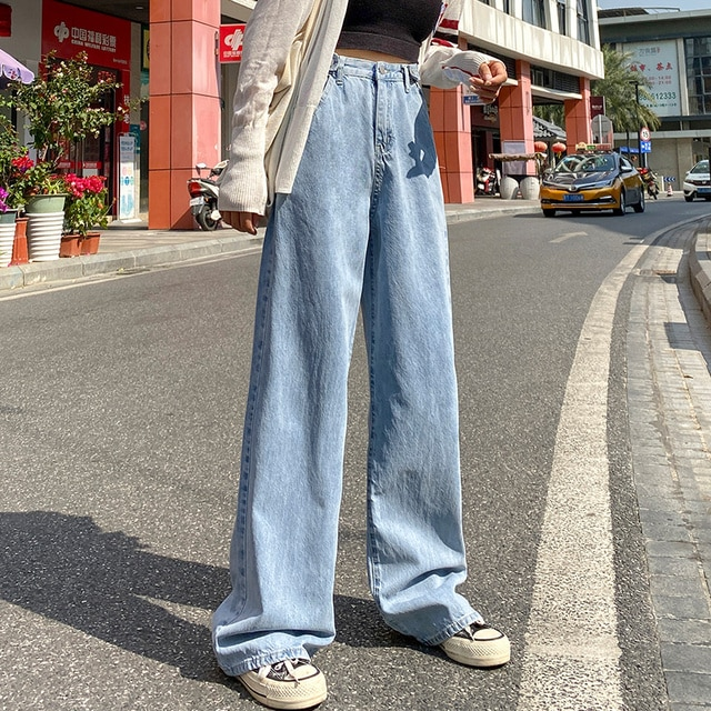 Spring and Autumn New Women's Jeans High Waist Clothes Wide Leg Jeans Blue Street Style Retro Quality Fashionable Straight Pants 8