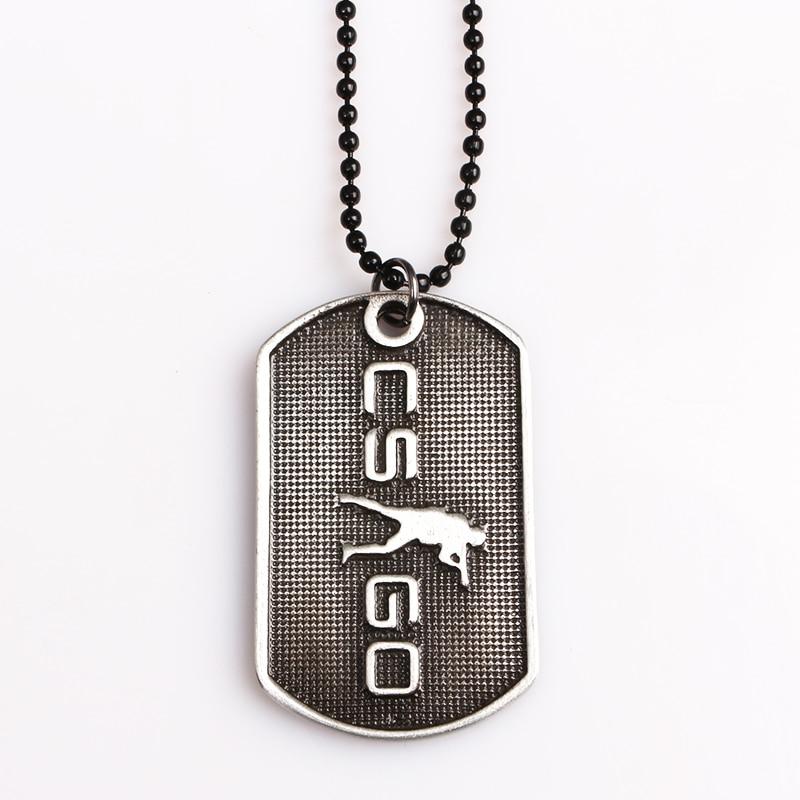 Fps gam counter strike csgo tag colares t/ct acampamento logotipo arma preto metal pingentes para homem fãs jóias lembrança