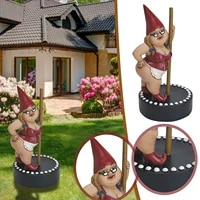 Jardin Pole Dance Gnome Ornement Resine Gnome Statues Dinterieur Exterieur Decor A La Maison Decorations De Bureau Cadeau