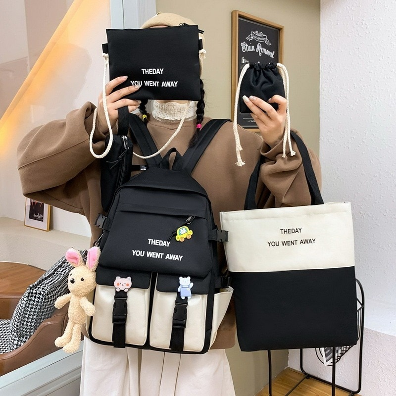 2021 Women Backpack Set Women Kawaii Leisure Travel Bag Shoulder Bag Big Small Bags Teenager Girl Schoolbag Bag Рюкзаки Sac