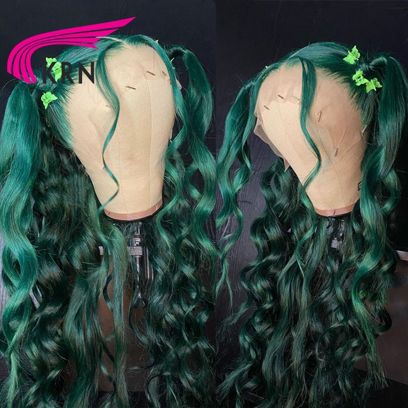 KRN Green Color Hair 180 Density Lace Front Wig For Woman Remy Hair 13x4 Frontal Lace Wig Body Wave 4x4 Closure Wig Human Hair