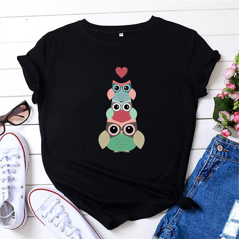 Mais tamanho S-5XL coração adorável coruja impressão camiseta feminina 100% algodão tshirt o pescoço manga curta t camisas femininas verão rosa topo