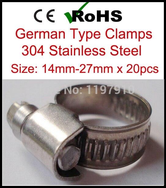 14 мм 27 x 20 шт Высокое качество немецкий стиль 304 хомут для шланга из нержавеющей