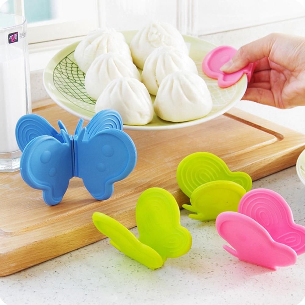 Mariposa afilada de silicona Adiabatic Pot Clips imán plato recipiente para microondas horno Armguard herramientas de cocina de moda