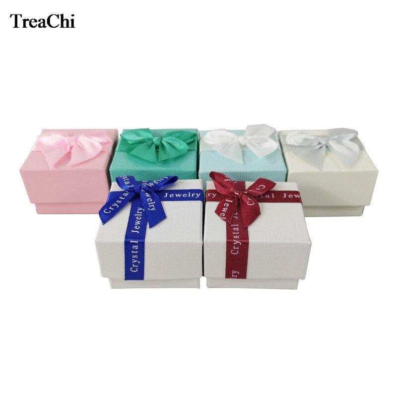 24 unids/lote caja de exhibición de joyería de calidad, caja organizadora de almacenamiento de joyería con anillo de Color de moda, caja de regalo con cinta de 5*5*3,8 cm al por mayor