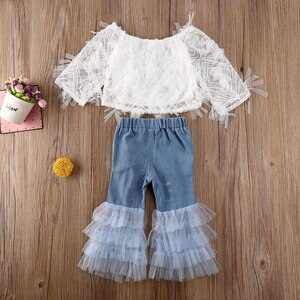 Boutique Kid Clothes Sets 2020 Toddler Baby Girl Clothes Lace Off Shoulder Tops+ Ruffle Hole Pants 2pcs Summer Child Outfits1-6Y