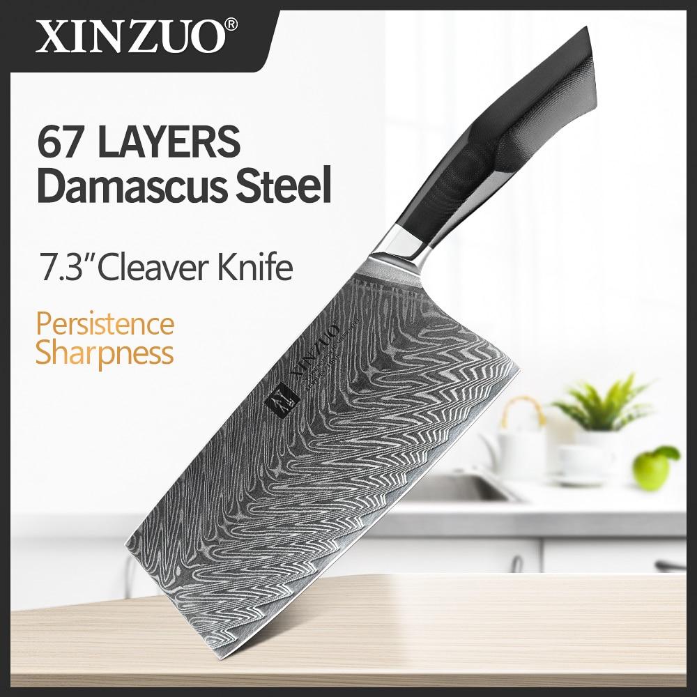 Cuchillos de carne de carnicero de 7,3 pulgadas de XINZUO, cuchillo de corte de acero de Damasco de alta calidad, negro G10 de alta calidad + mango de remache de latón de mosaico