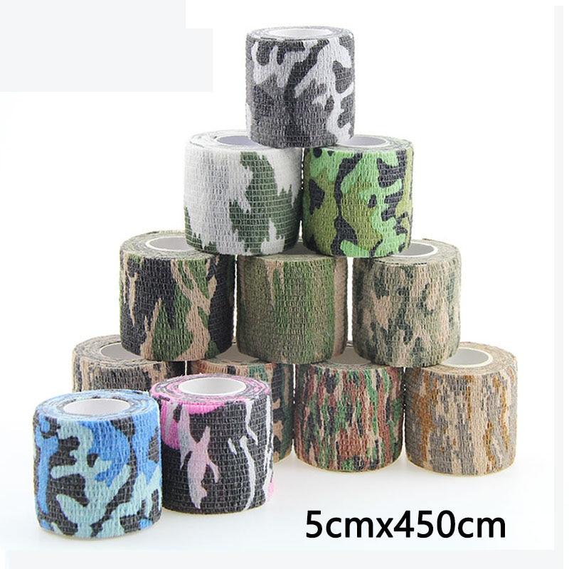 Vendaje elástico autoadhesivo de camuflaje, cinta de kinesiología deportiva, Protector muscular de artrosis de tobillo para gimnasio y Fitness