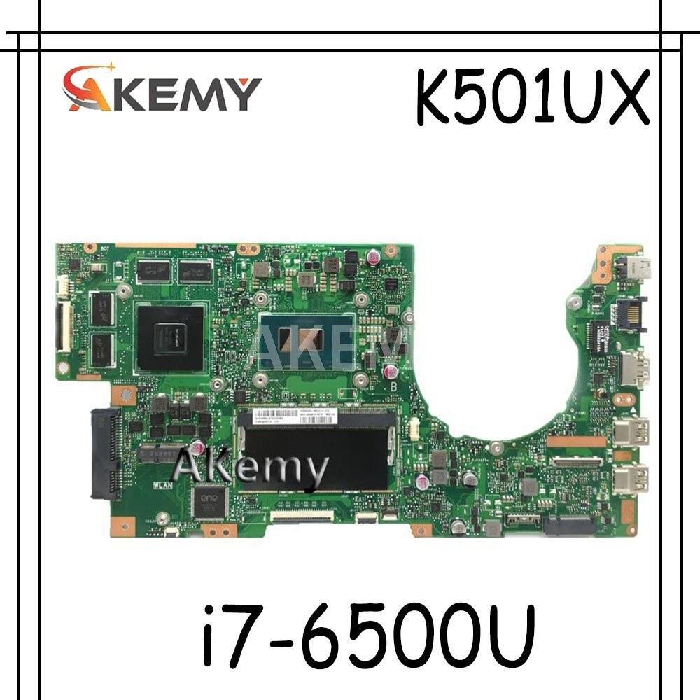 Akemy K501UX اللوحة الأم للكمبيوتر المحمول الفقرة For Asus K501UX K501UB K501U K501 Teste اللوحة الرئيسية الأصلي DDR3 4g RAM GTX950M i7-6500U
