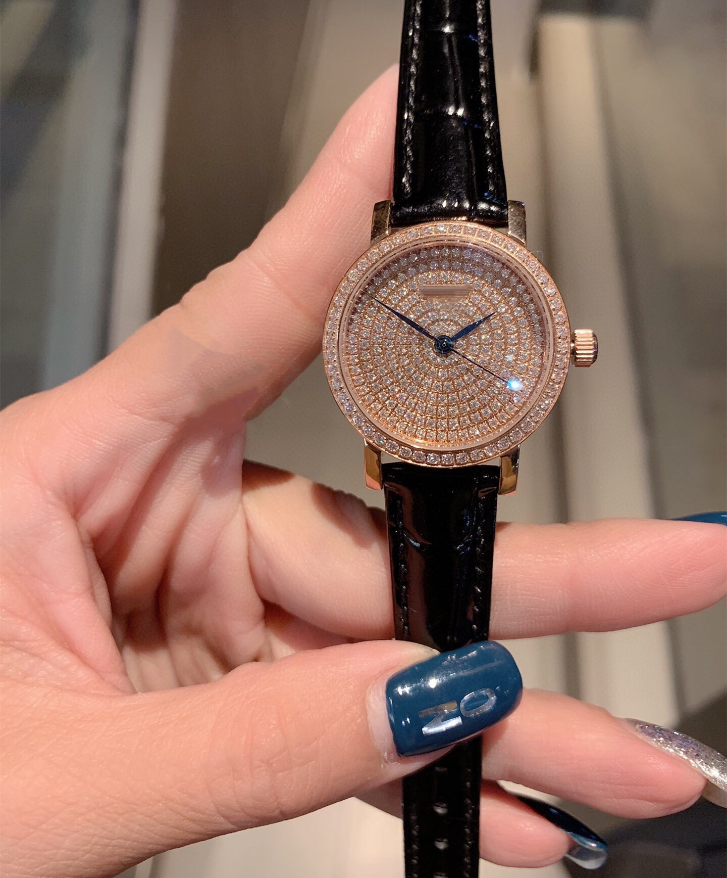 famous Women full diamonds quartz Wristwatch Luxury Lady geometric leather Watches Stainless Steel Silver green clock 30mm enlarge