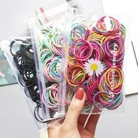 100pcsset children girls hair bands candy color hair ties colorful basic simple rubber band elastic scrunchies hair accessories