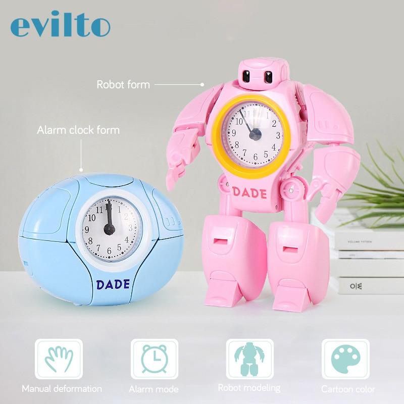 Cute Robot Alarm Clock Desk Clock Round Shape Travel Wake Up Loud Alarm Clock Cartoon Desk Clock For Kid Christmas Birthday Gift