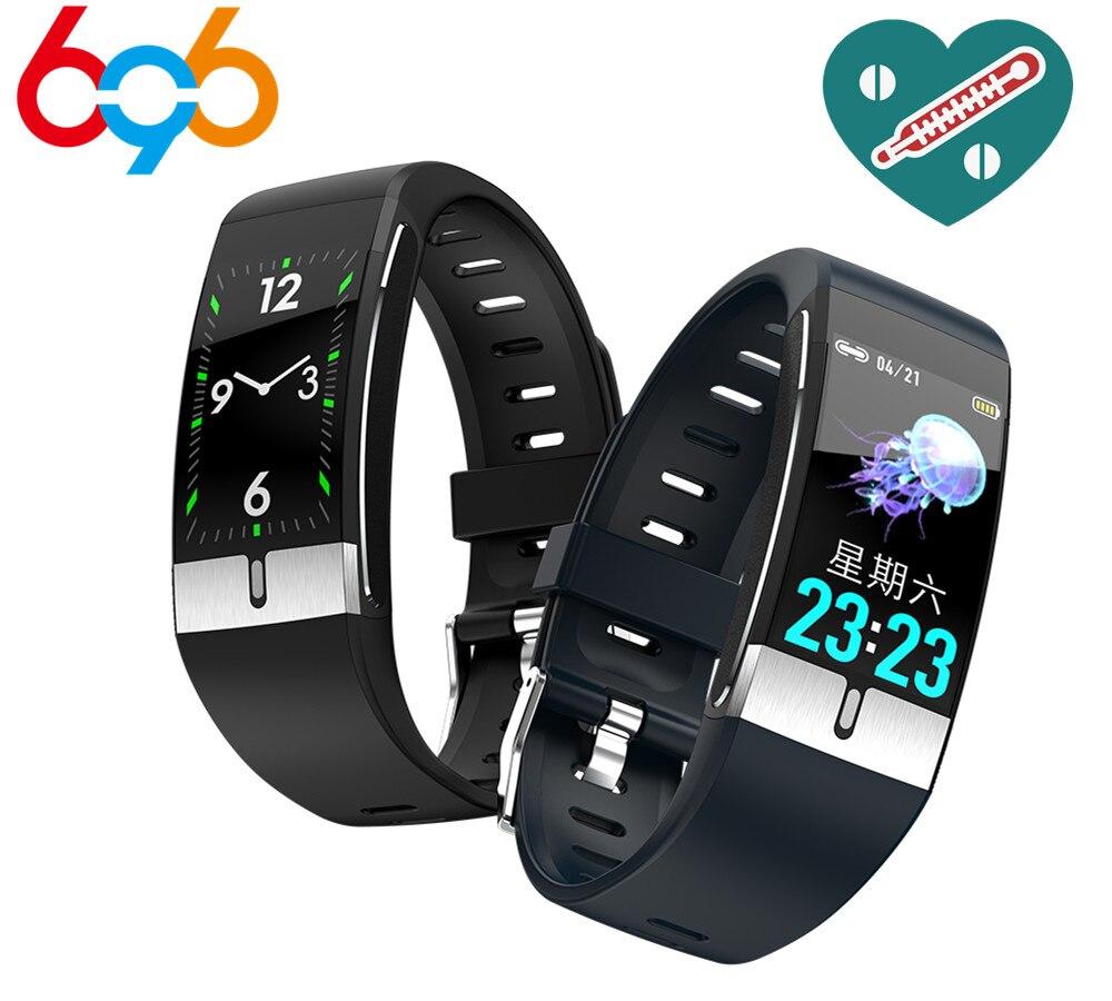 E66 rastreador de fitness pulseira temperatura do corpo ecg pulseira inteligente monitor freqüência cardíaca relógio inteligente controle música esporte banda pk t1