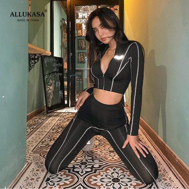 2020 top fitnes tracksuit long sleeve zipper crop top+leggings fashion reflective 2 pieces set women  letters sportswear outfits