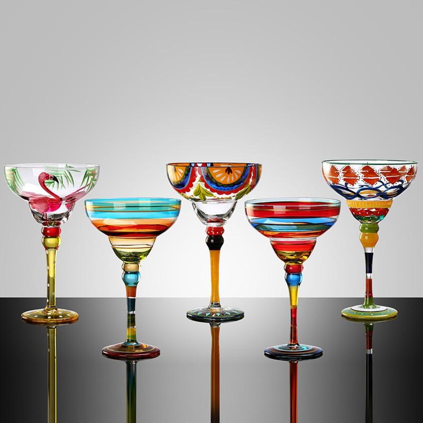 اليدوية الملونة كوب تقديم الكوكتيل أوروبا كأس كأس الشمبانيا كؤوس مشروبات الإبداعية بار حفلة المنزل درينكوير هدايا الزفاف