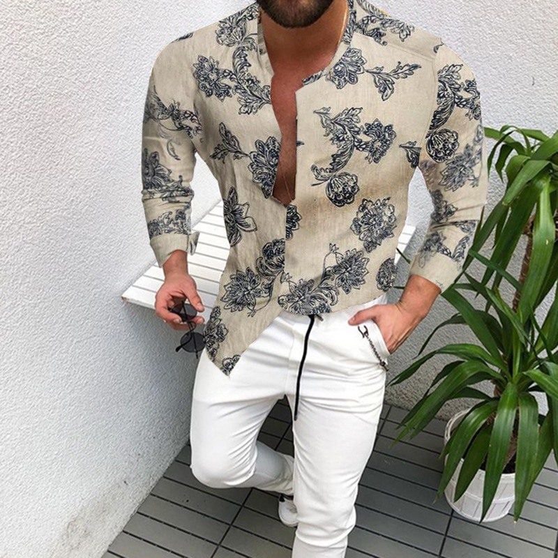 Рубашка мужская приталенная с принтом, однобортная блуза с воротником-стойкой и короткими рукавами, в национальном повседневном стиле, лет...