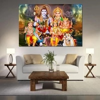 shiva parvati ganesha indian art religious poster hindu god figure canvas painting print wall picture for living room decor