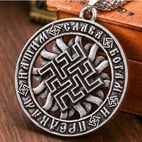 new retro rune amulet pattern pendant necklace round metal viking jewelry pendant party gift